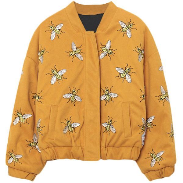 Bees Embroidery Stand-collar Loose Woolen Jacket (£39) ❤ liked on Polyvore featuring outerwear, jackets, tops, coats & jackets, yellow wool jacket, yellow jacket, wool jacket, woolen jackets and standing collar jacket