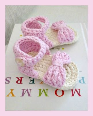 """This Lovely Life: Crochet Baby Sandals - Length of finished shoe is 3.25"""". Will fit a foot up to 3"""" (direct link)"""