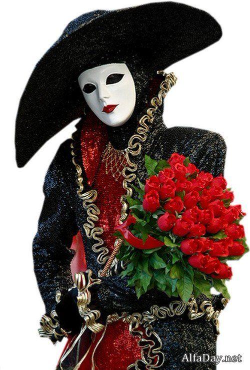 Карнавальные маски, шляпы и костюмы - винтажный клипарт на прозрачном фоне