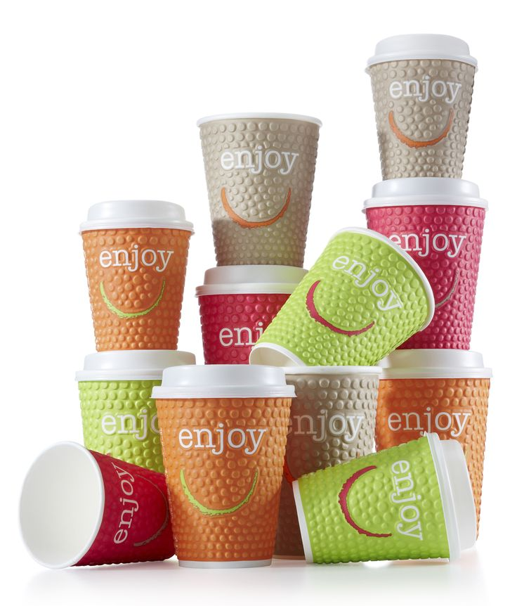 'Enjoy' coffee cups available from 9oz, 12oz and 16oz