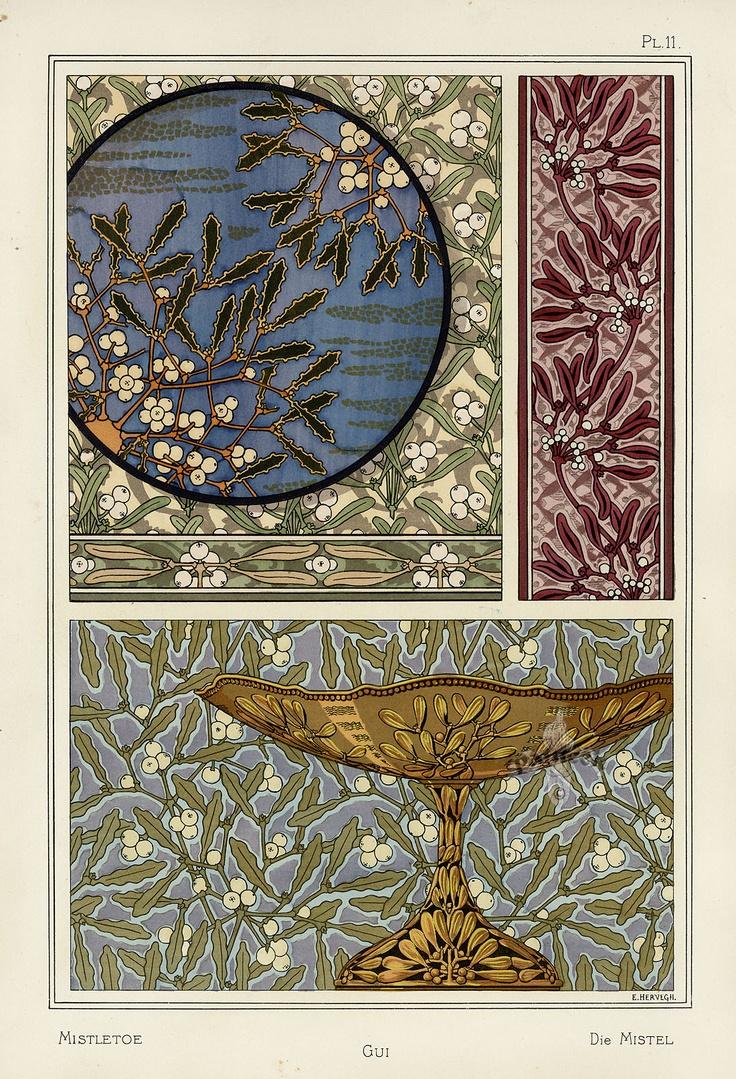 Eug ne grasset swiss 1841 1917 mistletoe 1896 for Pochoir deco
