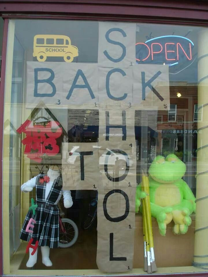 Back to school window display at The Funky Frog, Children's Resale Boutique