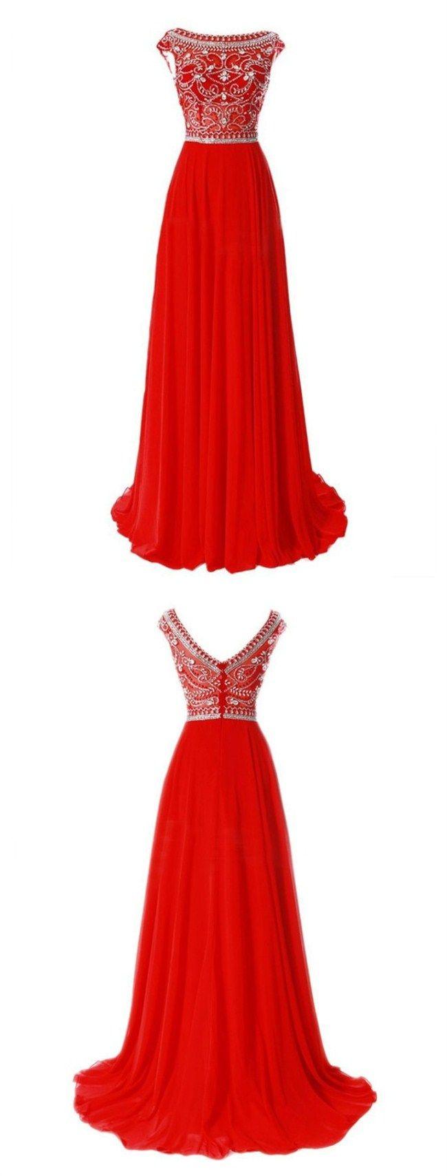 Red Prom Evening Dress , Elegant Beading Prom Dress, Bateau Cap Sleeves Prom Dress, Sweep Train Prom Evening Dress