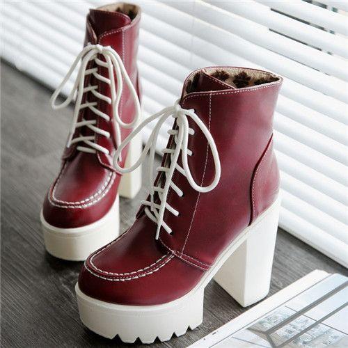 Aliexpress.com: Comprar PXELENA 2017 Venta Caliente tacones gruesos punta redonda botines femeninos botas de diseño de plataforma martin botas de estilo británico zapatos de las mujeres del cordón arriba de lace up skate shoes fiable proveedores en Shop1870285 Store