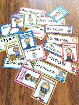 Étiquettes pour décorer la salle de classe - thème : quadrillage multicolore