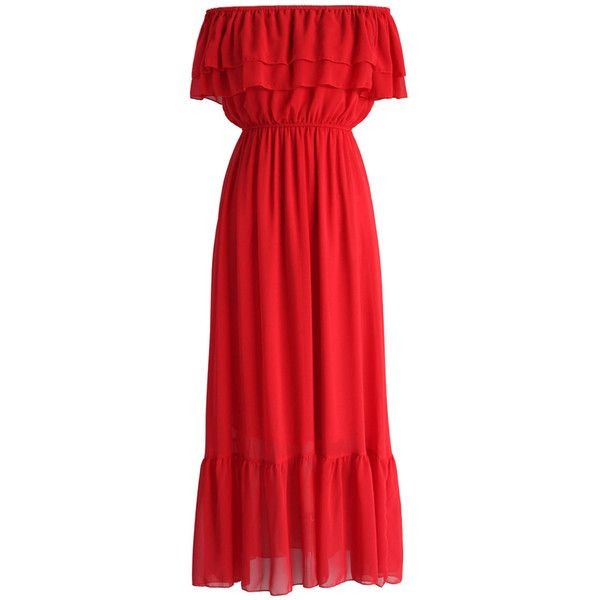 Chicwish Blissful Frilling Off-shoulder Maxi Dress in Red (€50) ❤ liked on Polyvore featuring dresses, red, tiered ruffle dress, red dress, off-the-shoulder ruffle dresses, red maxi dress and off the shoulder dress