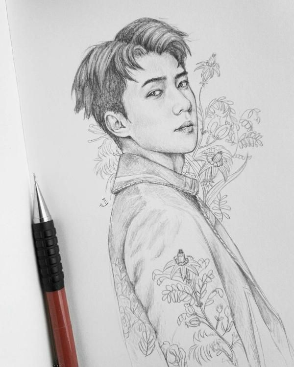 So jealous of this person's drawing skills!!!   Sehun in 2019   Exo