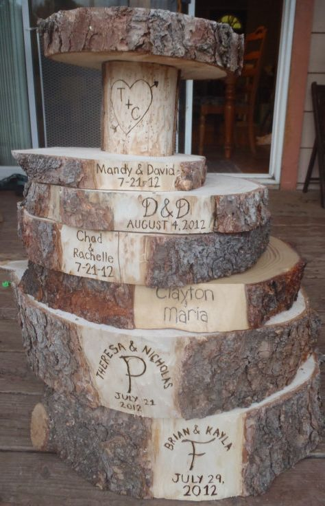 Rustic Cake Stand | ... engraved tree stands . Great memory for your rustic wedding or event