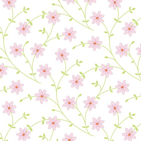 Daisy vine pink white fabric by jillbyers on Spoonflower - custom fabric