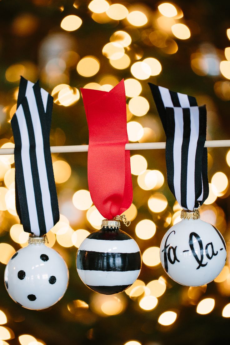 How Are Christmas Ornaments Made Part - 44: These Kate Spade-esque Ball Ornaments Are Completely On-point, Complete  With Black-and-white Stripes And Polka Dots. Get The Tutorial At Handmade  Mood