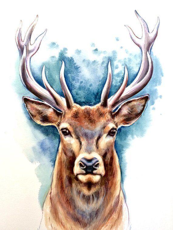 Original Deer Watercolor Art Deer Painting Home Decoration