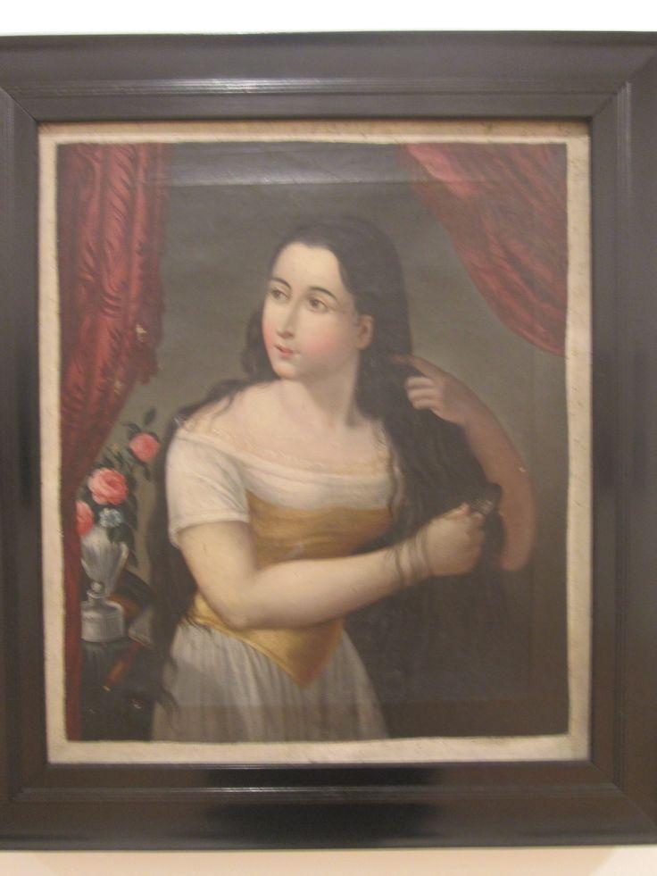 Anonimo Siglo XIX  Mujer Peinandose  Oleo sobre tela.