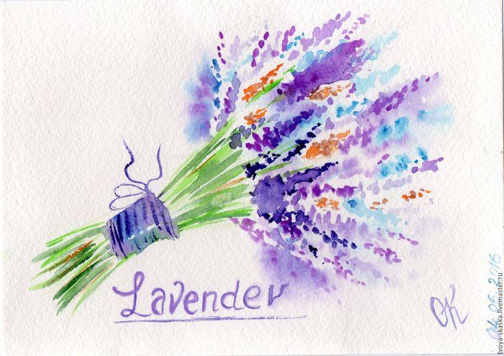 """Купить Картина - миниатюра """"Lavender""""(акварель) - фиолетовый, картина прованс, лавандовые поля, лаванда, летняя картина"""
