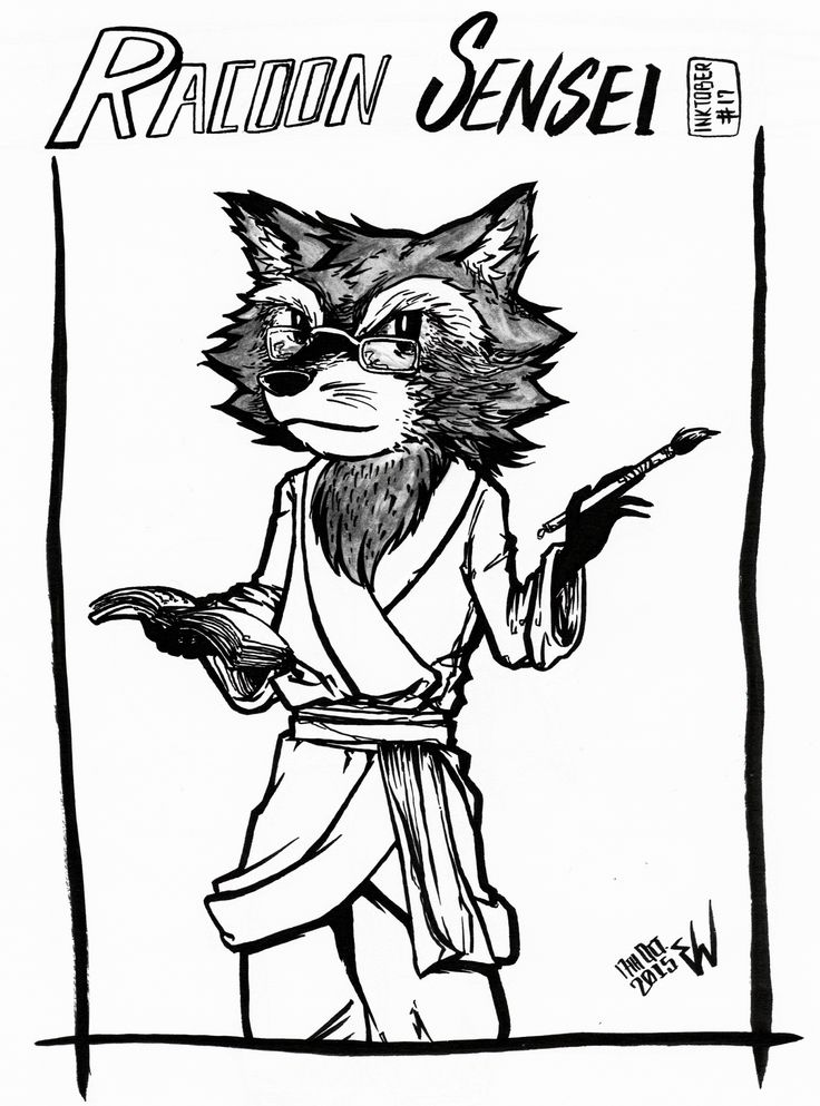 #inktober2015 -17- The first of the gentleman-animal series. Racoon Sensei here is not only a cultured gentleman skilled with oriental calligraphy, but he's also a kung-fu master.