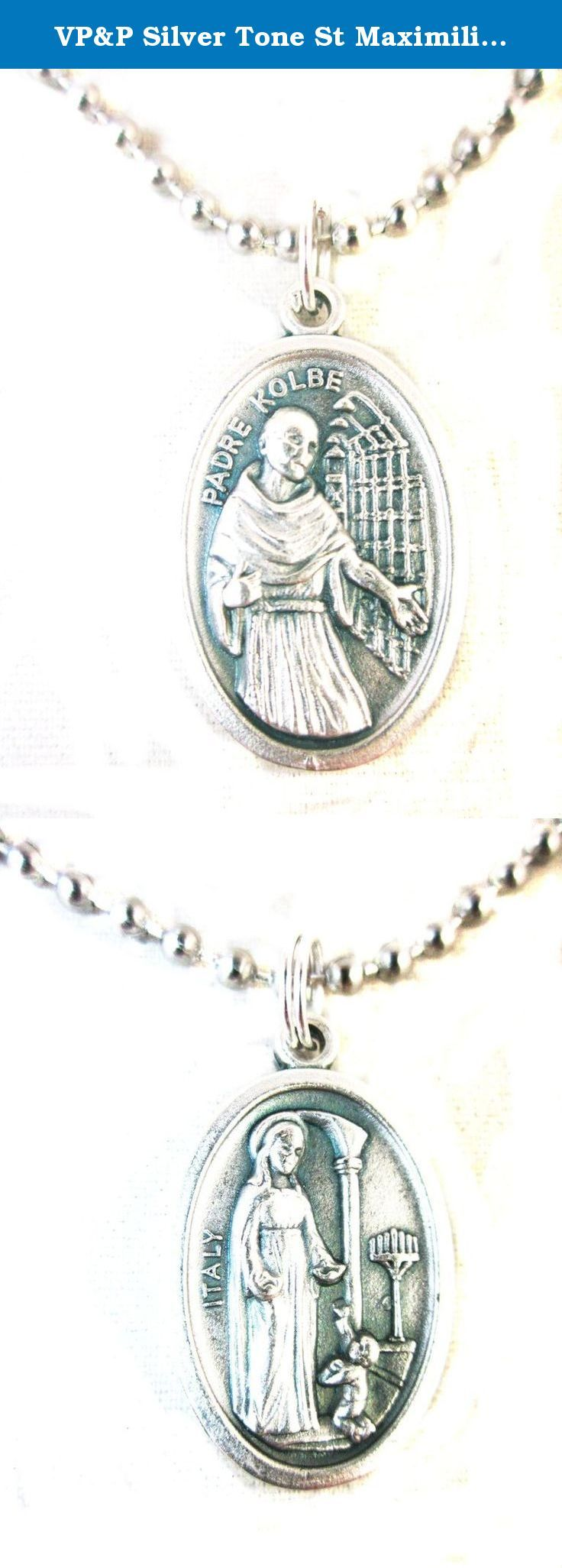 """VP&P Silver Tone St Maximilian Kolbe / Vision Medal Pendant Necklace 24"""" Ball Chain. 1"""" Die-cast oxidized medal made in Italy, on a 24"""" 2.4mm Stainless steel Ball chain, made in USA. Patron of Families, Journalists, Prisoners, Addiction Recovery. Prayer card included."""