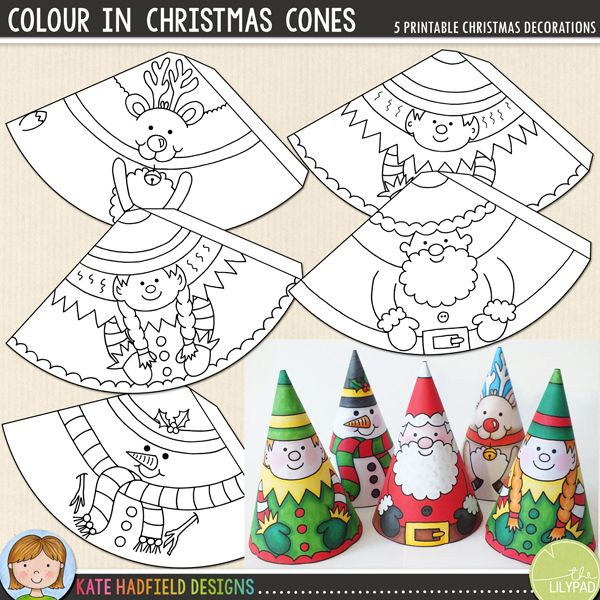 Colour In Christmas Cones - easy Christmas craft for kids! Just print, cut out and colour in to create these cute cone characters!