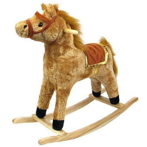 Horse Plush Rocking Horse - Wooden Rocker