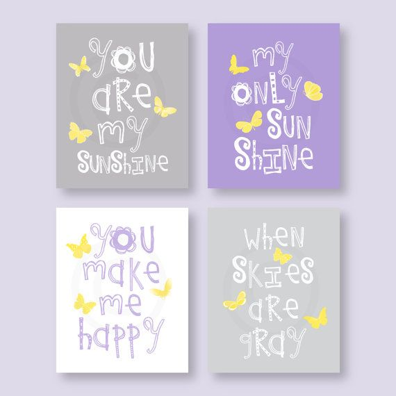 SALE Kids Wall Art Purple, Yellow and Gray Nursery Decor Prints - You Are My Sunshine - butterflies -5x7, 8x10 - baby shower gift, for girl