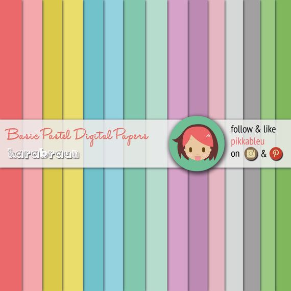 ----> http://butterland.etsy.com <----  Code: SC-019    INSTANT DOWNLOAD    ✄✄✄✄✄✄✄✄✄✄✄✄✄✄✄    15 digital papers in 12 inch format 300dpi Hi-Res, can be used for printables, scrapbooks, #digitalpapers #scrapbook #craft #printforfun #karabraun #pastelcolors #funprojects