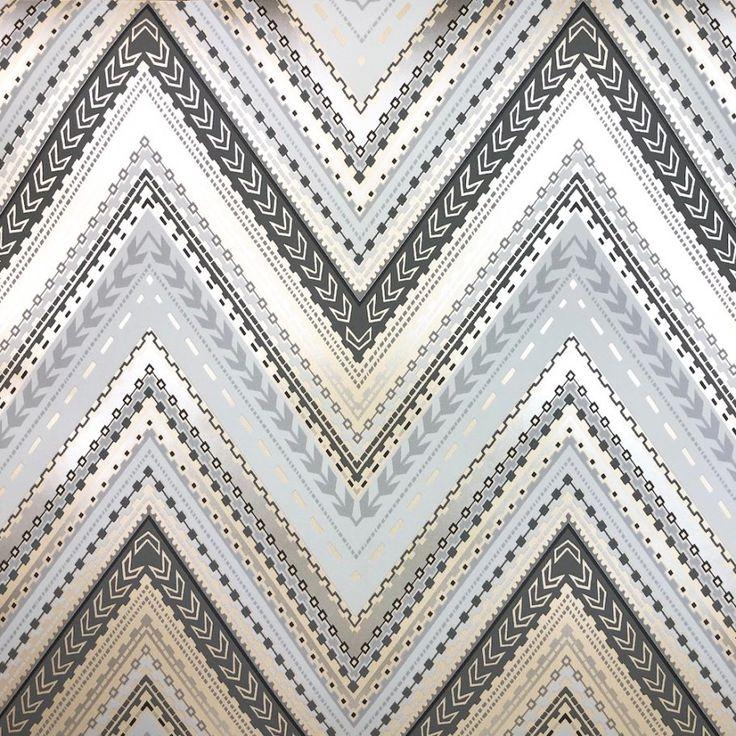 Grandeco Pandora dark grey chevron wallpaper A32502