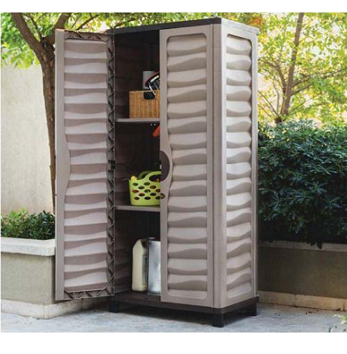 Tall Outdoor Storage Cabinet Garden Utility Plastic