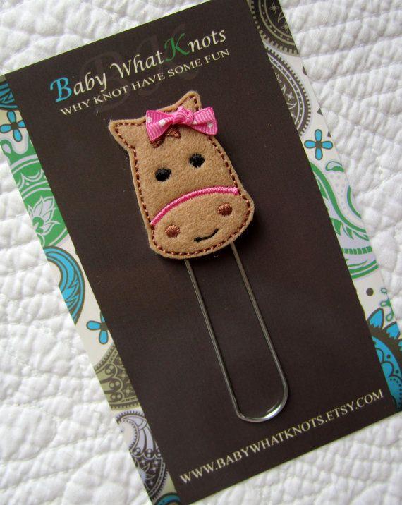 Kids Girls Horse Bookmark Felt Horse Bookmark by babywhatknots, $6.00