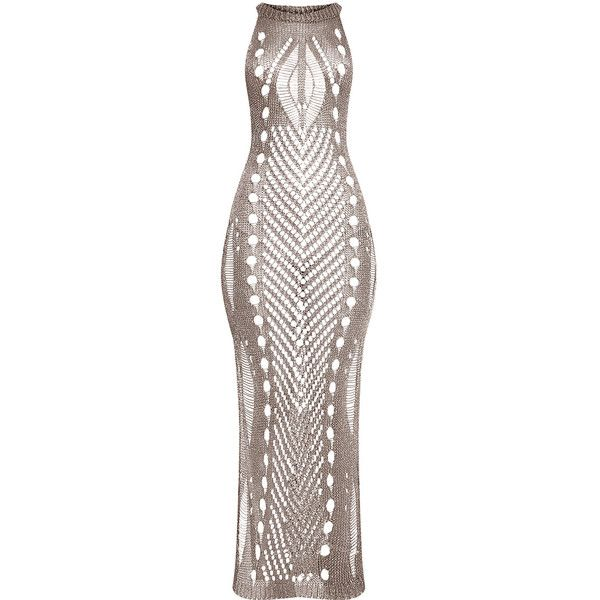 Donatella Gunmetal Metallic Pointelle Knit Maxi Dress (£54) ❤ liked on Polyvore featuring dresses, maxi length dresses, brown maxi dress, gunmetal dress, metallic dress and brown dress