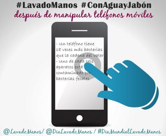 #LavadoManos #ConAguayJabón después de manipular dispositivos móviles