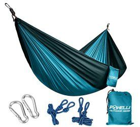 Foxelli-1-Double-Single-Camping-Hammock-Ultralight-Nylon-Portable-Parachute-Best-for-Light-Backpacking-Survival-Beach-Travel-Backyard-Fun-Tree-Ropes-and-Carabiners-Included-2-Person