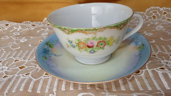 Mismatched 2 Piece China Tea Set Pair - Cup, Saucer - Berkshire Ware, Cowerdale - Shabby Cottage Chic Rustic Tea Party Mad Hatter
