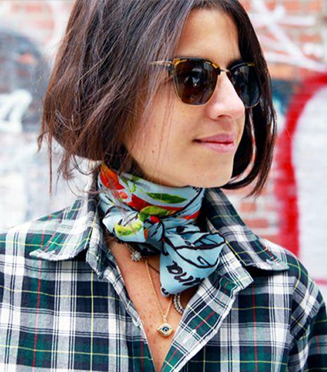 Leandra Medine goes bonkers for a silk scarf plaid shirt combo. Yes to that.    Leandra Medine http://www.manrepeller.com/