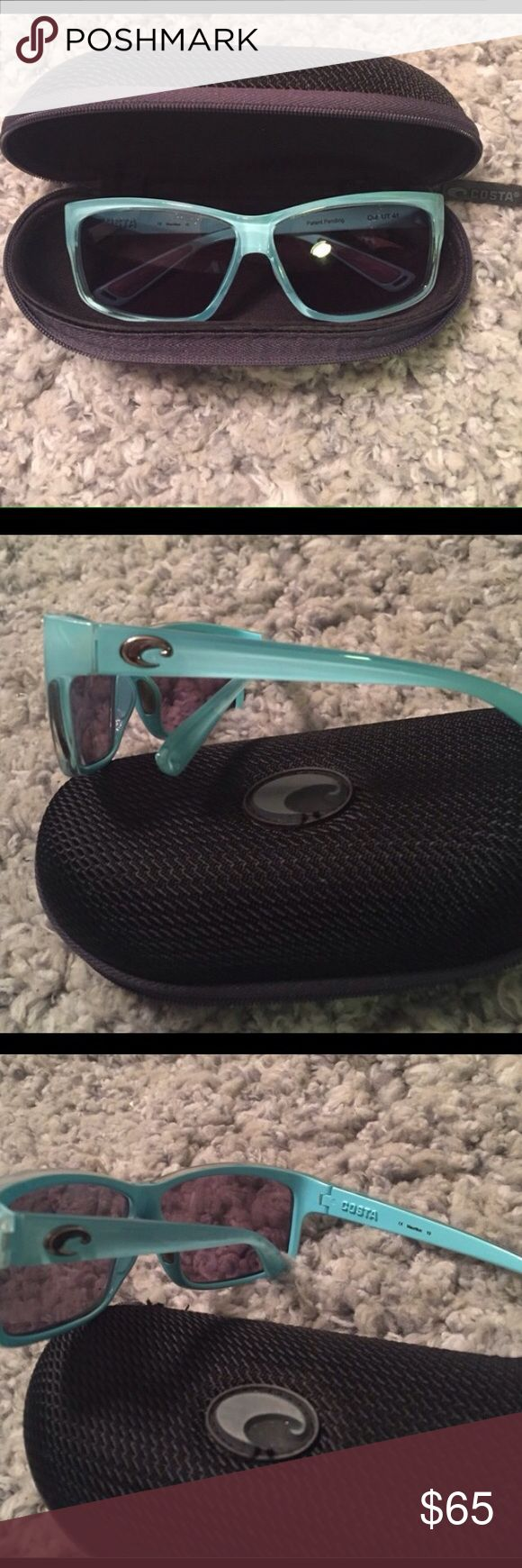 Light blue costa Del Mar sunglasses Perfect condition, come with case but I need them to be polarized for fishing. What a great deal on these sunnies! Costa Del Mar Accessories Sunglasses