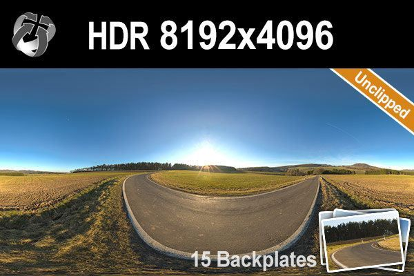 Unclipped high resolution hdr of a land road with clear sky. Including 15 backplates.