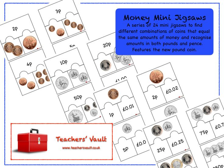 Money Mini Jigsaws - KS1 Maths Teaching Resources, Activities and Games with new UK pound coin
