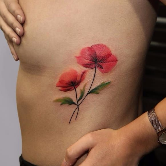 Dainty poppy tattoo by Joice Wang JoiceWang watercolor graphic nature poppy flower