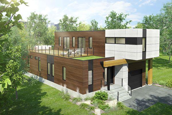 maison-toit-plat-cubique-bois-coste Plans maison Pinterest