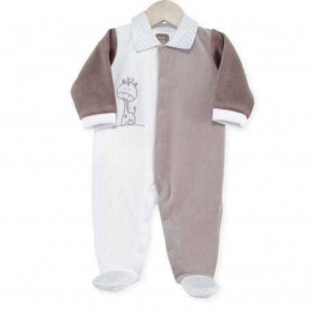 """Pyjama naissance mixte """"Ninon et Léon"""" assorti au linge de lit de la collection blanc/ taupe"""