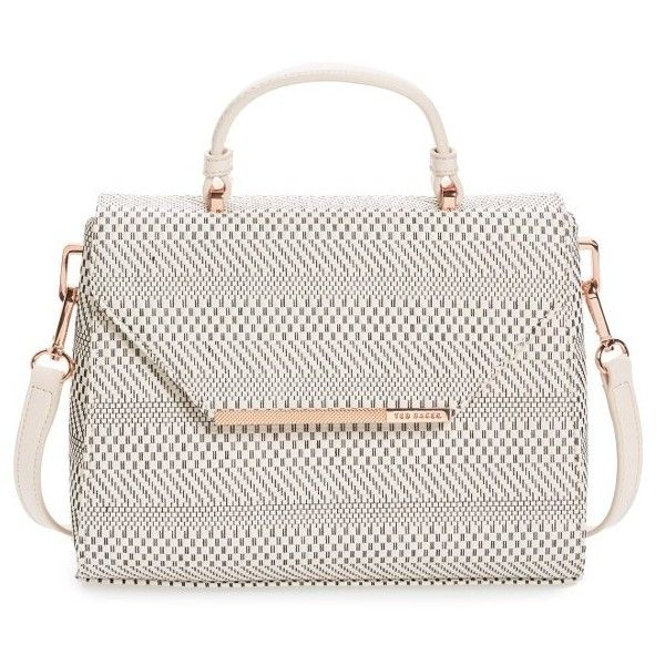 Women's Ted Baker London Woven Straw Top Handle Satchel (770 MYR) ❤ liked on Polyvore featuring bags, handbags, straw, straw handbags, ted baker purse, white handbags, white purse and straw purse