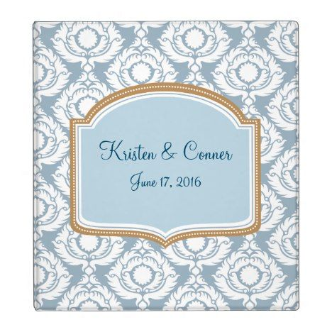 Blue and White Damask Custom Photo Album Binder #wedding #3ring #binders