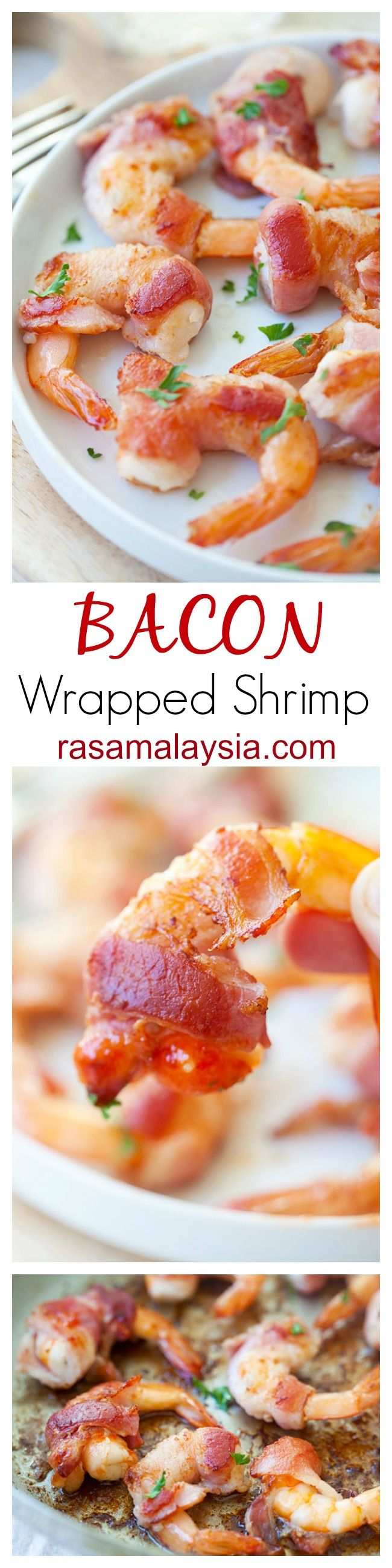 Bacon-Wrapped Shrimp is an easy recipe of wrapping shrimp with bacon and then pan-fried or grilled. This bacon-wrapped shrimp recipe is a crowd pleaser   rasamalaysia.com