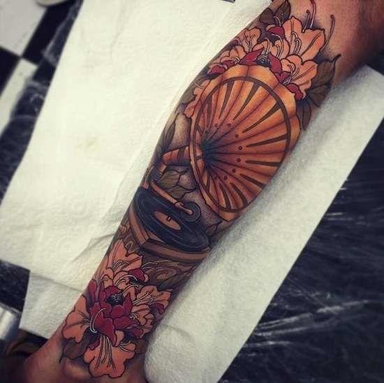 Record player tattoo