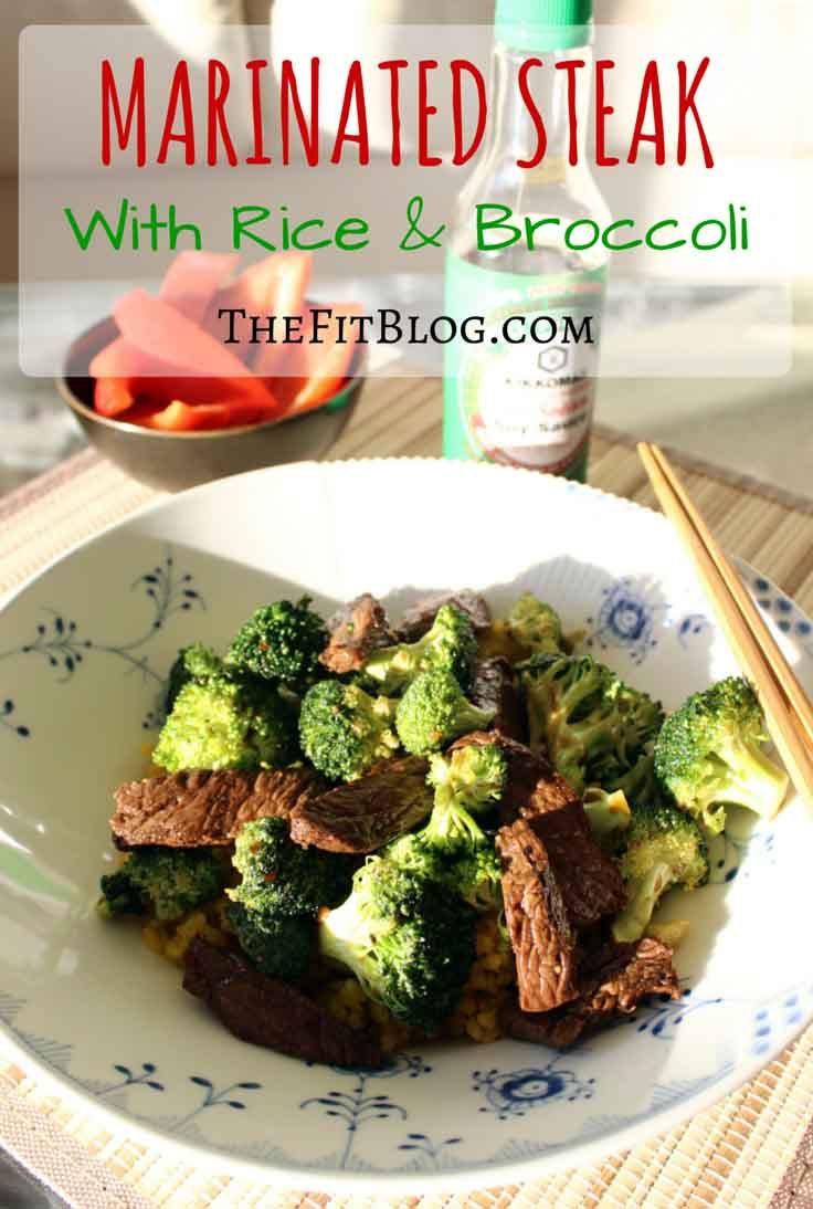 The genius of this dish is that you cook the broccoli in the marinade from the steak, which means that everything taste like meat (not quite, but you get the idea). The broccoli stays almost raw, but it absorbs a ton of flavor from the marinade. When you put everything on top of the rice, you get a meal that is perfect for a healthy fitness lifestyle, and where the steak and marinade flavor is infused in every bite.