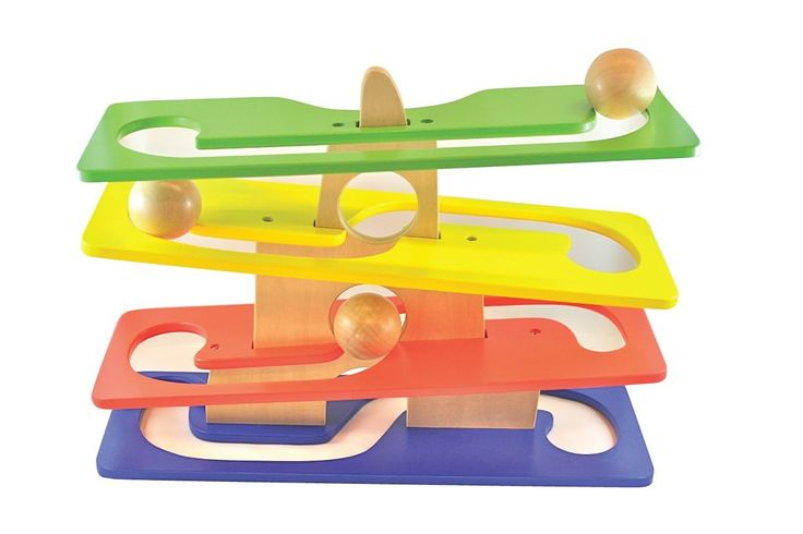 Discoveroo - Mountain Roller. This wooden play set includes 4 ramps. The 3 x large wooden balls roll down the tracks, around and through the mountain. Teaching kids about gravity and providing hours of fun. When assembled, the Mountain Roller is 25cm high and 37cm long and 13cm wide! The balls are 4.5cm in diameter.