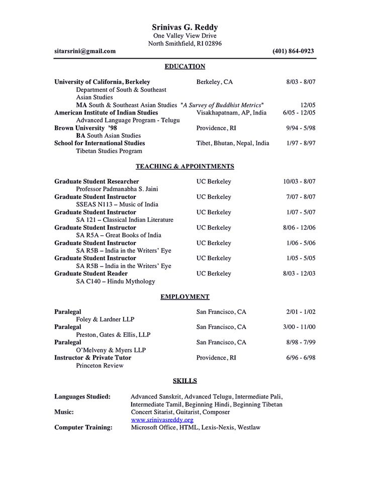 Academic Resume. Example Academic Cv 18 Sample Of An Academic