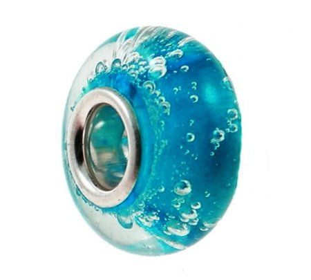 Pandora Style Charms Sterling Silver Turquoise Blue Bubbles Water Park Ocean Cruise Hawaii Beach Serene Sea Memories European Murano Lampwork Bead for Bracelets and Necklaces (Old Version)