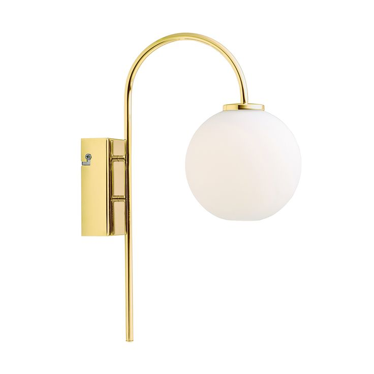 Ballon Wall Lamp, Brass/White, 321
