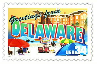 The Delaware State Postage Stamp  Depicted above is the Delaware state 34 cent stamp from the Greetings From America commemorative stamp series. The United States Postal Service released this stamp on April 4, 2002. The retro design of this stamp resembles the large letter postcards that were popular with tourists in the 1930's and 1940's.