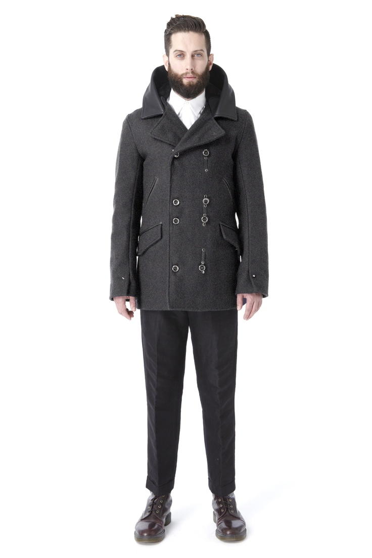 Krane-Asher: Hooded Peacoat in Charcoal Wool $990.44