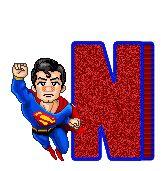 Alfabeto animado de Superman de caricatura.