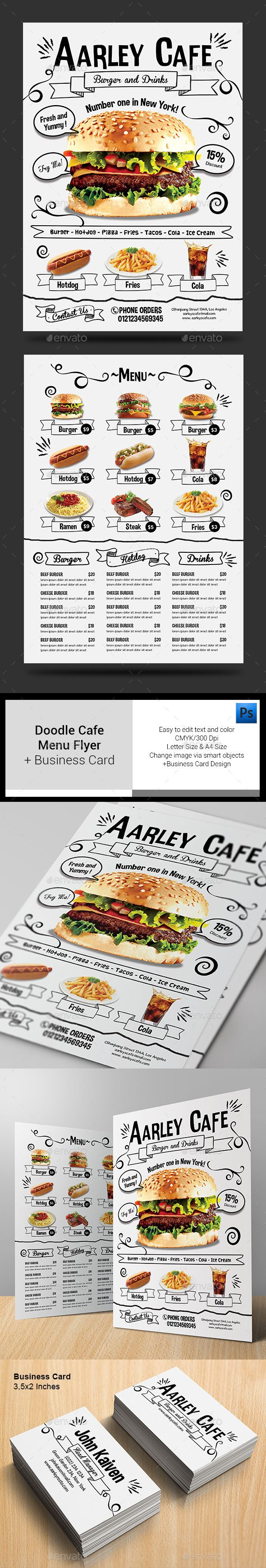 Doodle Cafe Menu + Business Card Template #design Download: http://graphicriver.net/item/doodle-cafe-menu-business-card/13013710?ref=ksioks